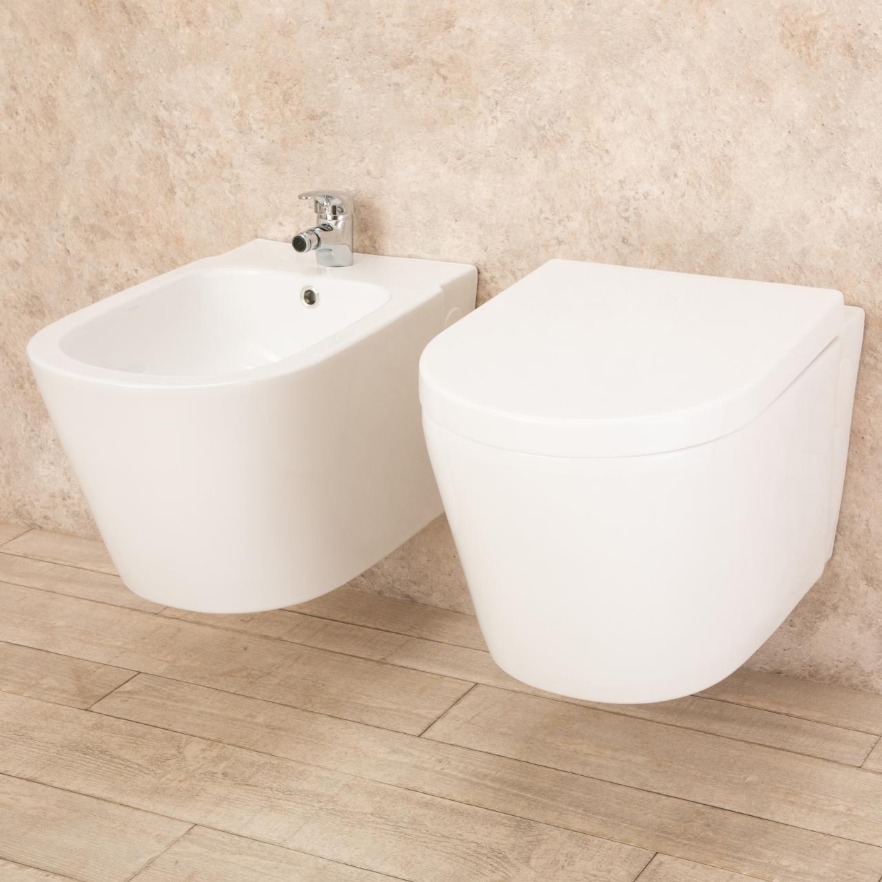 WC sospeso Easy in ceramica con bidet 2