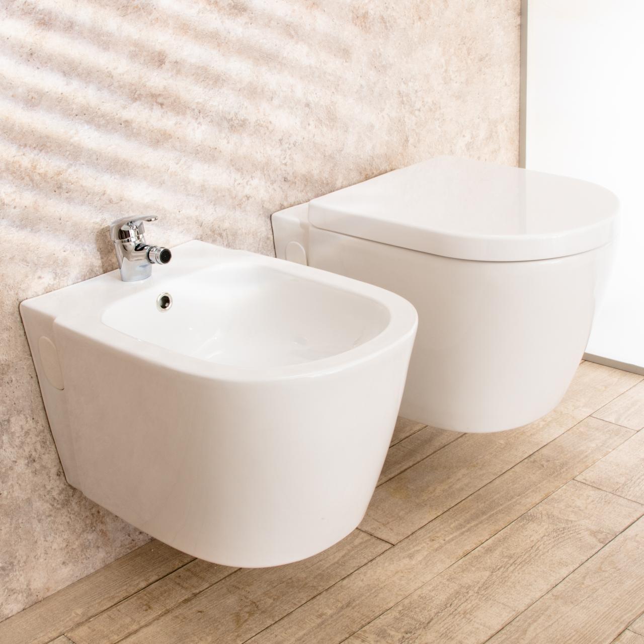 WC sospeso Easy in ceramica con bidet