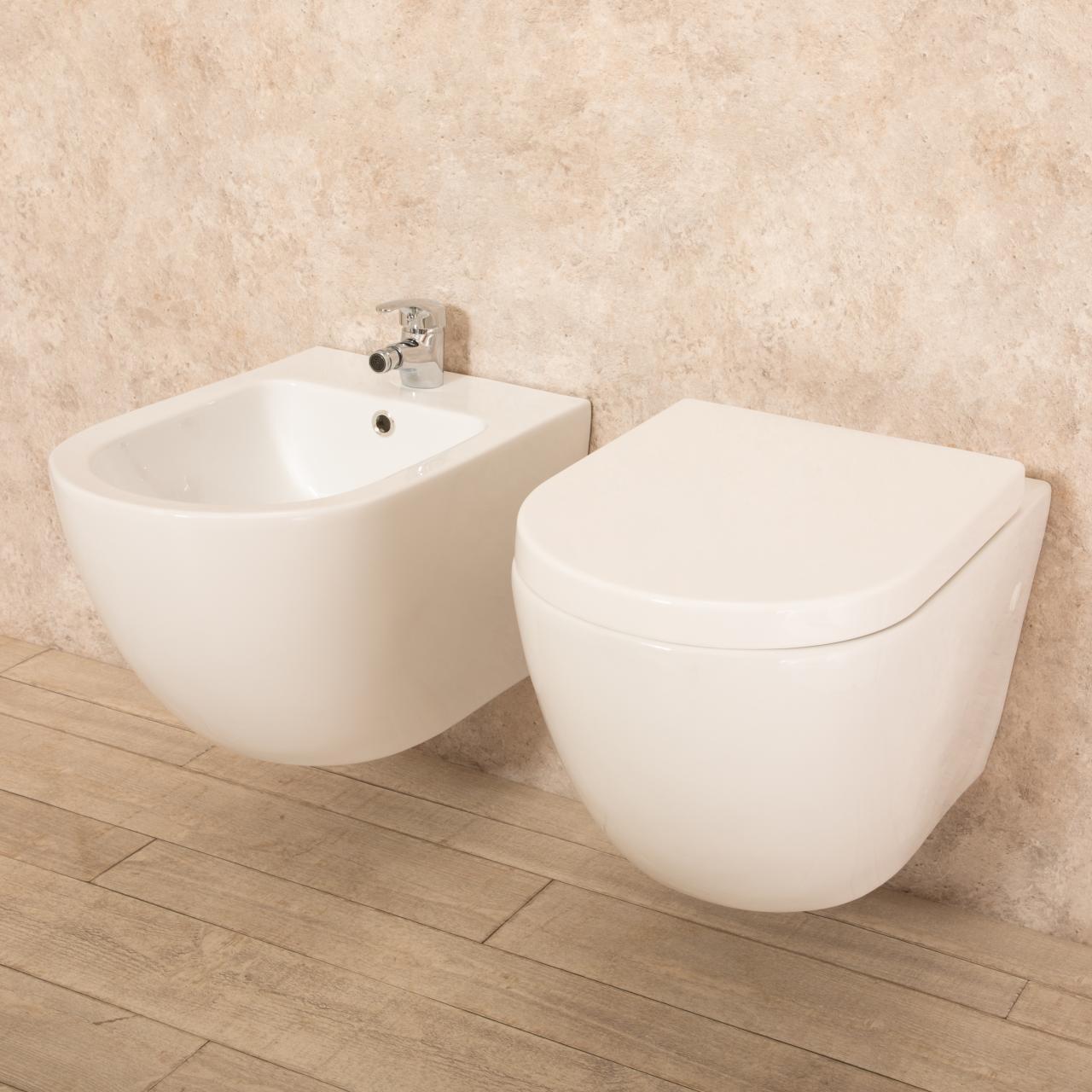 WC sospeso Vortix senza brida con bidet 2