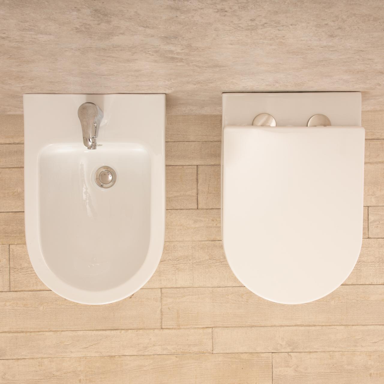 WC sospeso Vortix senza brida con bidet 3